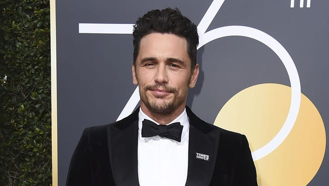 James Franco wore a Time's Up pin on his lapel at the Golden Globes on Jan. 7,  2018, days before allegations of inappropriate behavior against him broke.