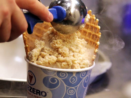 Sub Zero's ice cream is frozen with liquid nitrogen. The local franchise owner is opening a coffee shop with a similar concept in the new Ambassador Town Center development.