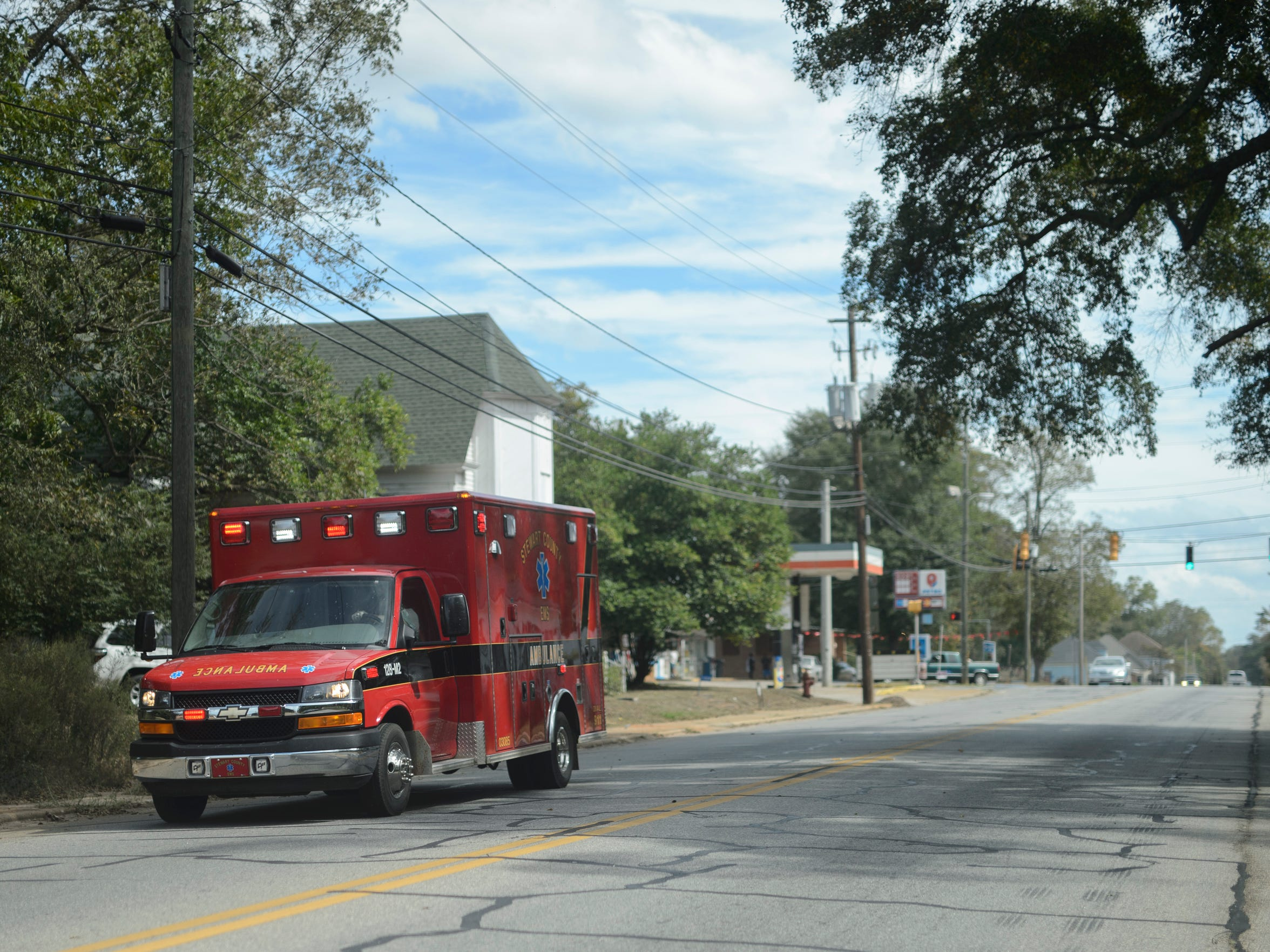 Stewart County EMS on a run in downtown Richland, Ga. The two ambulances are often tied up making the average 90-mile round trip to the nearest hospital.