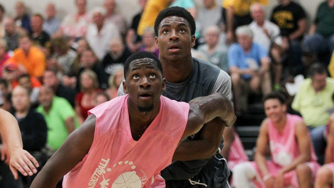 Incoming Hawkeye Dale Jones, front, is on a roll through his first three games of the Prime Time League, averaging 20 points and seven boards per game.