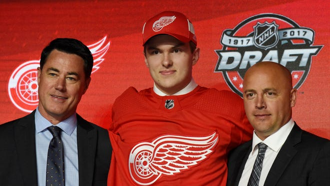 June 23, 2017; Chicago, IL, USA; Michael Rasmussen poses for photos after being selected as the No. 9 overall pick to the Red Wings in the first round of the 2017 NHL draft at the United Center.