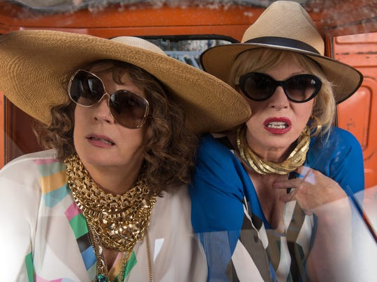 """Eddy (Jennifer Saunders, left) and Patsy (Joanna Lumley) are up to their old tricks in  """"Absolutely Fabulous: The Movie."""""""