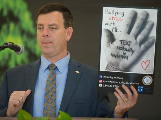 Daryl Bailey, Fifteenth Judicial Circuit District Attorney, speaks about the District Attorneys newly instituted bullying text hotline on Monday, Oct. 18, 2017 in Montgomery, Ala.
