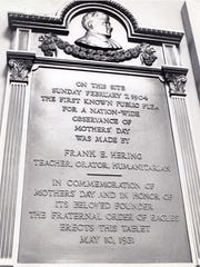 """Plaque in the lobby of the English Opera House commemorating the first public plea for """"Mother's Day""""."""