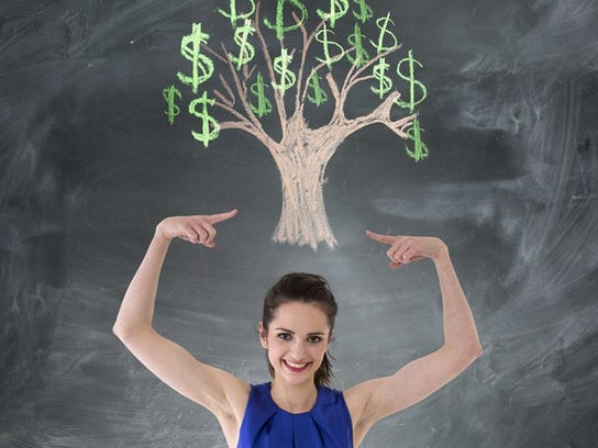 Woman Money Tree Chalkboard