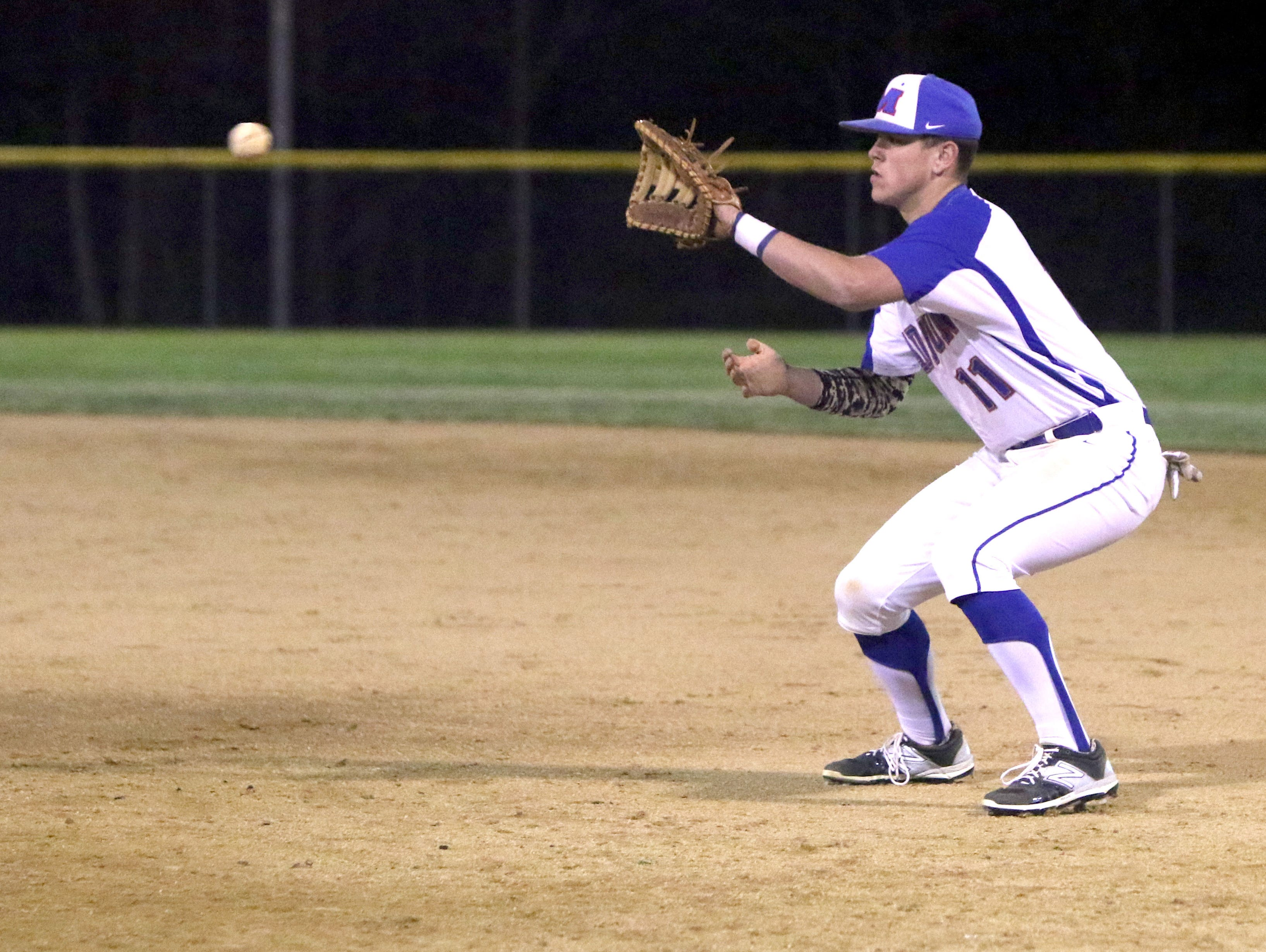 Madison first baseman Ty Roberts waits to make a catch on Monday in Marshall.