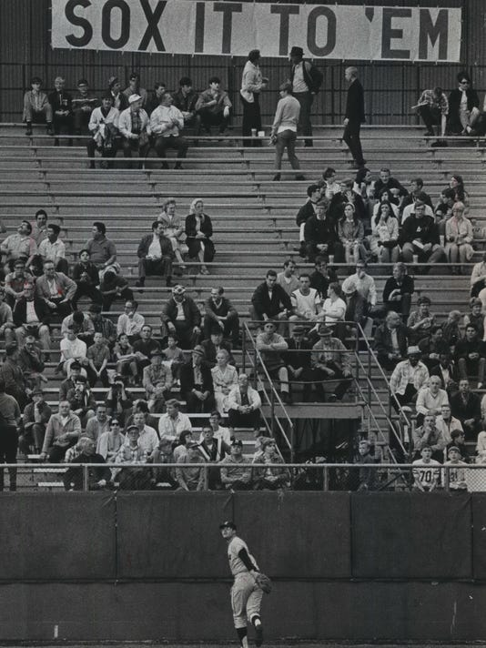 6fb7172402a Chicago White Sox fans brought their own banners to County Stadium when the  White Sox played their first regular-season game as the