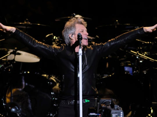 Jon Bon Jovi from the band Bon Jovi performs at Madison Square Garden on Thursday, April 13, 2017 in New York. (Photo by Charles Sykes/Invision/AP)