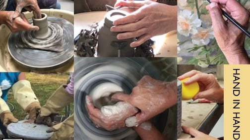 "DeBlois Gallery's October show ""Hand In Hand"" features the ceramic art work of Charlene Carpenzano and her clay group from the Coleman Center at the Newport Art Museum."