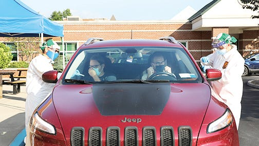 WVSOM students are welcomed back to school with drive-through COVID-19 testing.