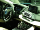 The high-tech cockpit of the BMW i8 plug-in hybrid supercar.