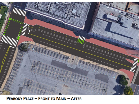 A sketch of how Peabody Place, between Front and Main, may change as part of the Great Streets Pilot Project. (Bike/Ped Memphis)