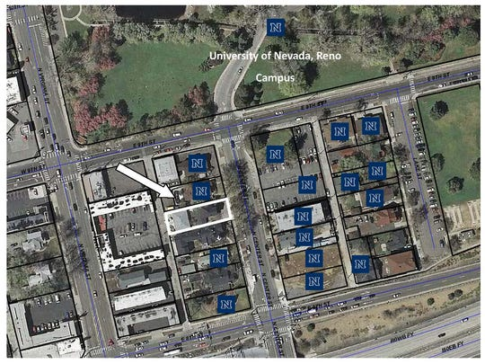 A map of what properties UNR owns in Gateway District, south of campus. The white outline and arrow are the two most recent properties purchased for UNR.