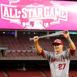 Los Angeles Angels outfielder Mike Trout poses with his trophy after being named the All-Star Game MVP in July.