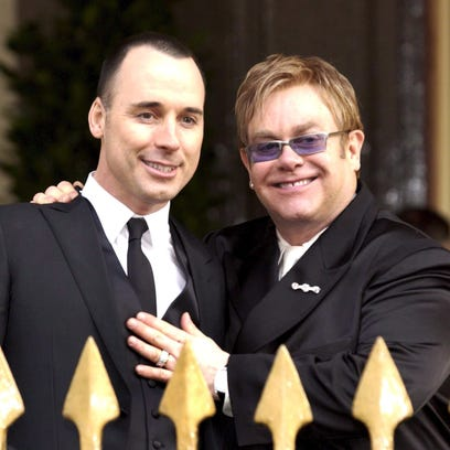 Elton John (R) and David Furnish after their civil