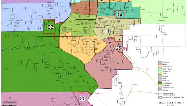 A consultant team presented a new map with requested tweaks to new Wausau elementary school boundaries on Feb. 25, 2016. It's the ninth version of these boundaries presented by the consultant.