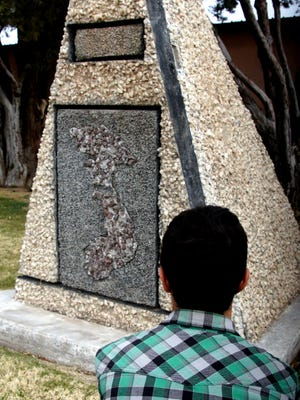 This Vietnam War memorial monument sits at the southwest corner of Veterans Park on the 300 block of South Silver Avenue. It has a rock inlay of the map of Vietnam.