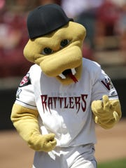 Fang, the mascot of the Wisconsin Timber Rattlers,