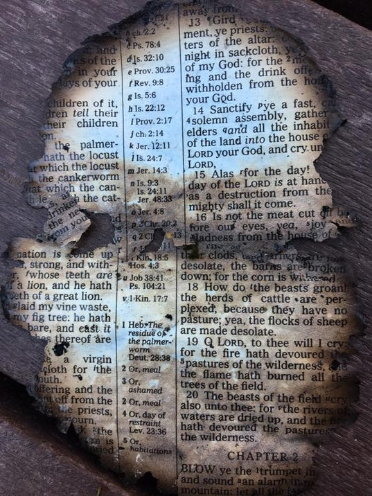 Burned Bible page