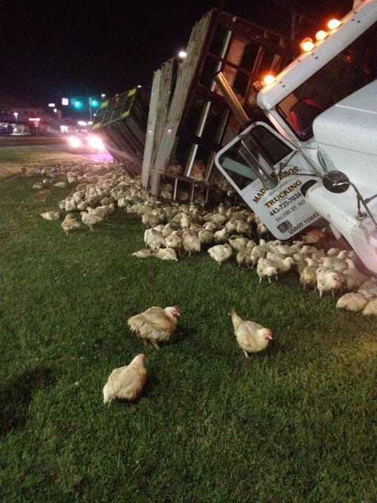 chicken truck crash cleared in dover