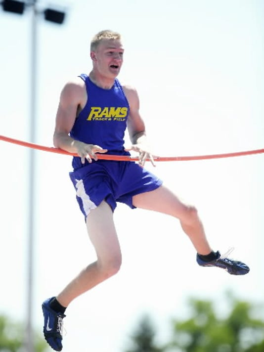 """Kennard-Dale's Dylan Moynihan attempts the pole vault at 14'9"""" on Saturday, May 19, 2012, at Shippensburg University on Day 2 of the PIAA District 3 Track & Field Championships. (DAILY RECORD/SUNDAY NEWS - CHRIS DUNN )"""