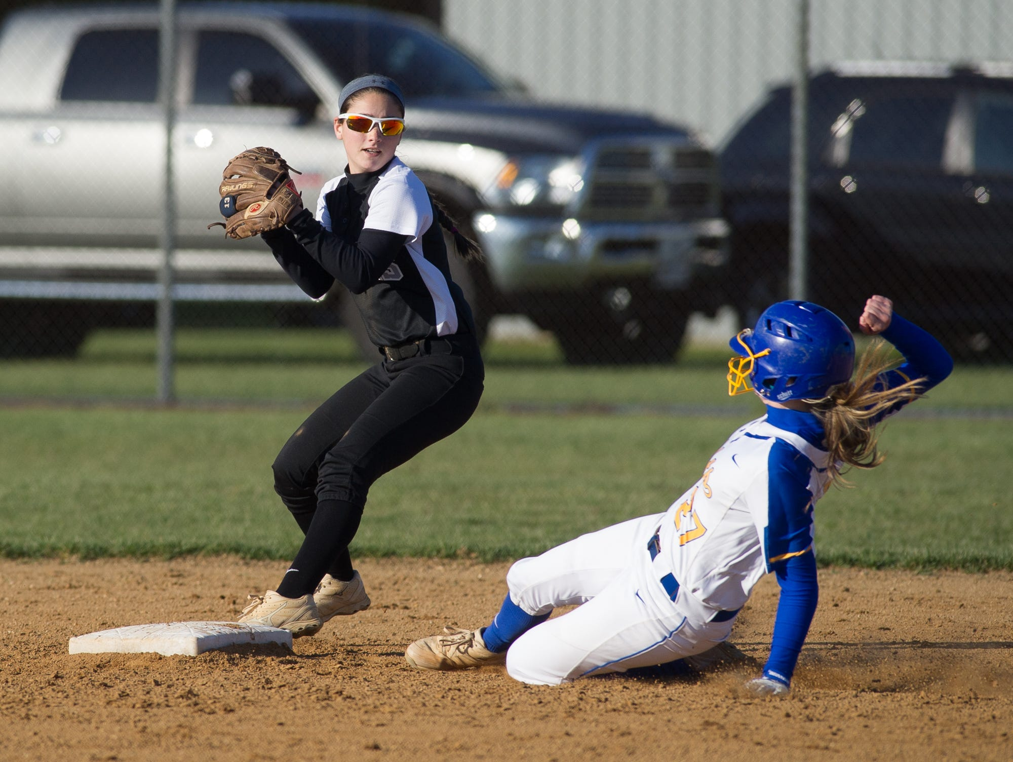 Sussex Tech's Jenna Calloway (13) makes a out at second base in their win against Sussex Central.