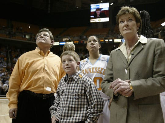 Lady Vols coach Pat Summitt, right, watches the jumbotron