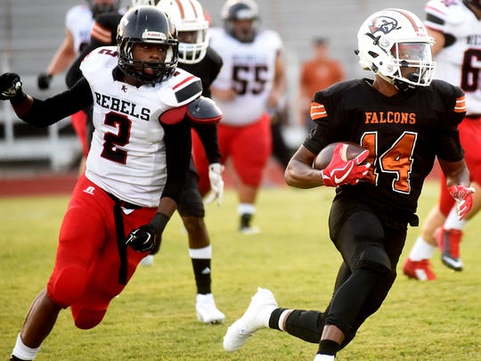 Northwood's Trayon Jones Jr., right, makes a run as North Caddo's Keyshawn York gives chase during a game on Friday, Sept. 1, 2017 (Val Horvath Davidson/Special to The Times).