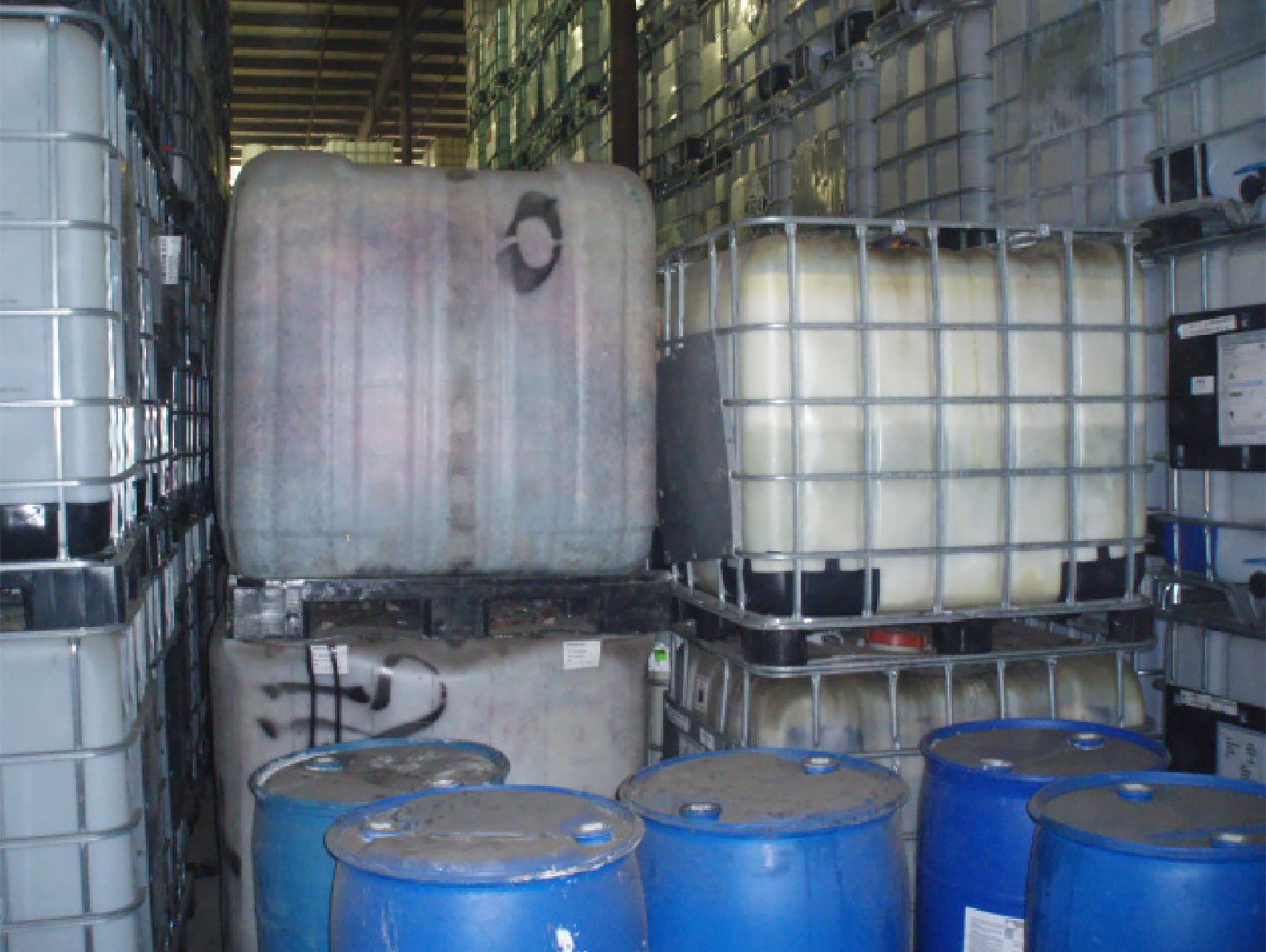 "Barrels and totes marked as ""non-hazardous"" waste were stored at Tote Detailing in Joliet, Ill., in December 2014 when state and federal investigators toured the plant. The inspections followed an incident when leftover chemicals were combined into a supposedly empty tote, causing an explosion."