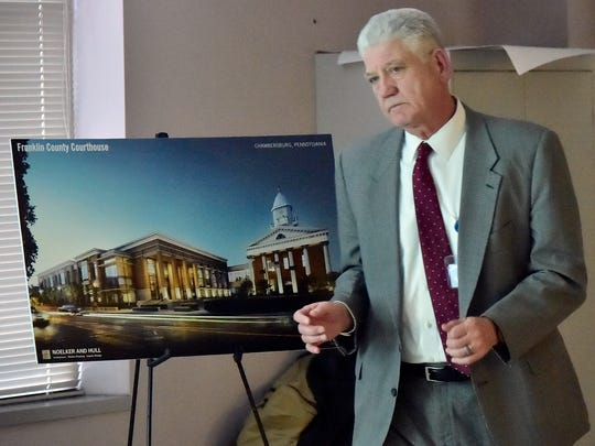 John Hart, project mananger, leqads a meeting to discuss the future of the Franklin County Courthouse on Wednesday, January 3, 2018 at the county annex building. Project mananger John Hart was also pictured.