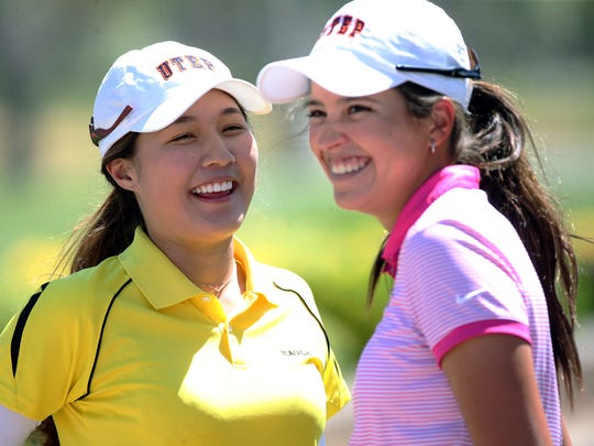 UTEP senior June Ting, left, of Taiwan and freshman Valeria Mendizabal of Guatemala have become good friends on the UTEP golf team.