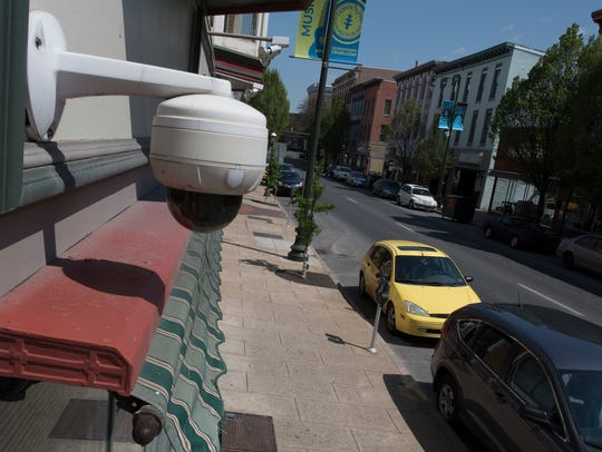A security camera keeps an eye on South Main Street