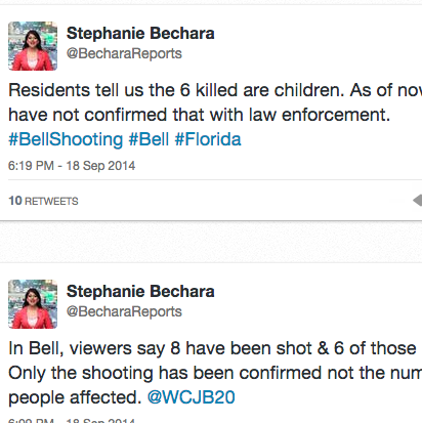 Tweets from Stephanie Bechara of WCJB20 about the possible mass shooting near Gainesville.