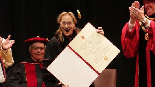 Academy Award winner, Meryl Streep, received a honorary degree from Indiana University President Michael A. McRobbie on Wednesday.