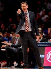 New York Knicks head coach Jeff Hornacek motions to