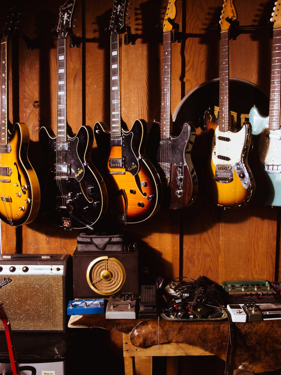 Guitars inside the High Lonesome production studio.