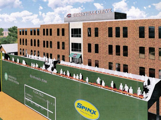 "Seating atop Fluor Field's ""Green Monster"" are part of the Greenville Drive's $10 million renovation plans."