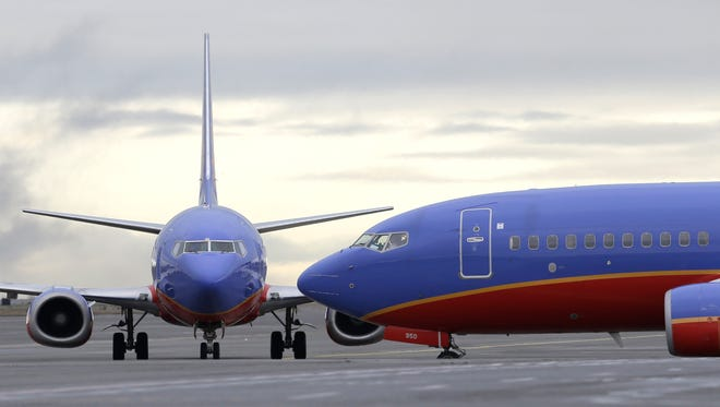 Southwest Airlines jets at Seattle-Tacoma International Airport on Jan. 26, 2016.