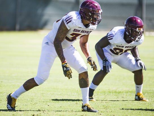 The Arizona State University football team practices