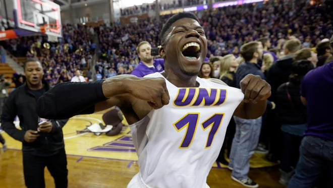 Northern Iowa guard Wes Washpun celebrates after his team's victory over North Carolina.
