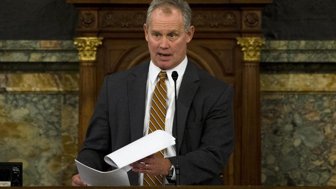 Speaker of the Pennsylvania House of Representatives, Rep. Mike Turzai, R-Allegheny, speaks Tuesday, Dec. 8, 2015, at the state Capitol in Harrisburg, Pa. The House voted 115 to 86 in favor for a $30.3 billion general appropriations bill on Tuesday, a day after a bipartisan Senate vote to approve a $30.8 billion budget that Democratic Gov. Tom Wolf supports. (AP Photo/Matt Rourke)