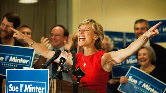 Sue Minter gives a victory speech during the campaign party for Vermont gubernatorial canadate Sue Minter at Main Street Landing on Tuesday night August 9, 2016 in Burlington.