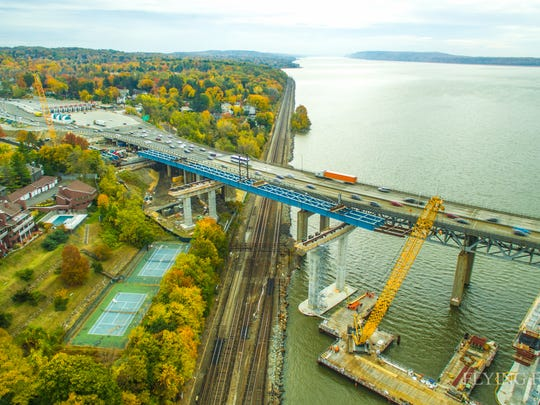 This photo taken from a drone shows girders for the new Tappan Zee Bridge that have been placed over Metro-North's tracks in Tarrytown.