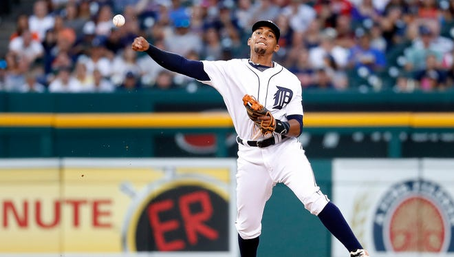 Tigers shortstop Dixon Machado throws to first base on a Royals catcher Salvador Perez ground ball in the fourth inning of the Tigers' 3-1 loss Monday at Comerica Park.