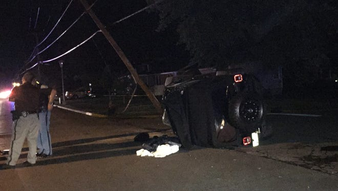 The vehicle overturned after hitting a pole in Friday night accident involving an off-duty Richmond police officer driving his personal vehicle.