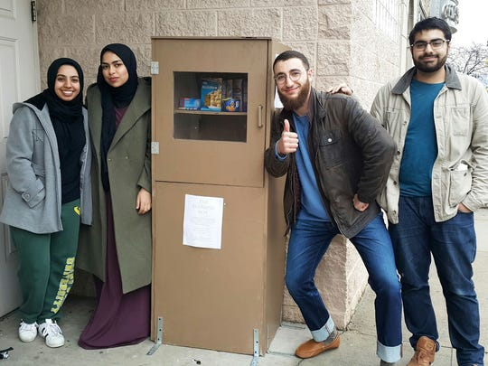 Wayne State students with the blessing box they've