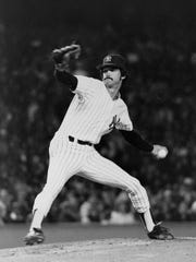 Ron Guidry is shown in action against the Toronto Blue Jays at Yankee Stadium in New York in this Sept. 28, 1978 file photo. Guidry would win the AL Cy Young this year and a World Series with the Yankees.