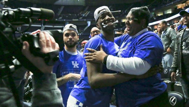 Kentucky's Bam Adebayo gets a hug from mother Marilyn Blount after the Wildcats beat Arkansas 82-65 Sunday afternoon in Nashville for the SEC Championship, the school's 30th conference title. Adebayo finished with 17 points and nine rebounds.