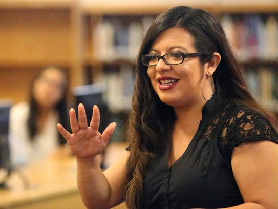 State Rep. Mary González talks with Fabens High School