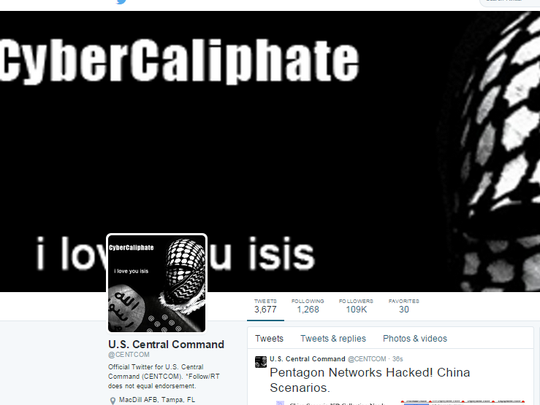 The hacked Twitter page of the U.S. Central Command.